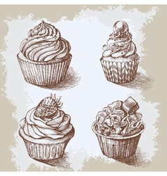 Set of sweet bakery decorated cupcakes hand drawn vector image vector image