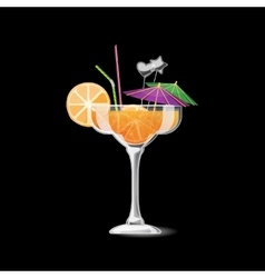 Summer tropical cocktail in glass vector image vector image