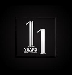 11 years anniversary logotype with cross hatch vector