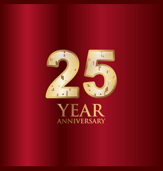 25 year anniversary gold with red background vector