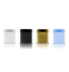 3d white blank metal aluminium tin can containers vector image