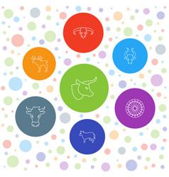 7 bull icons vector