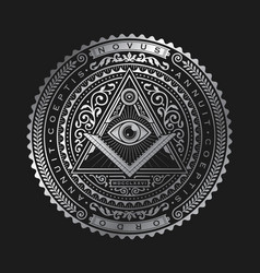 all seeing eye emblem badge logo metallic vector image