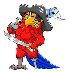 Angry parrot pirates cartoon holding sword vector