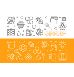 apiary 2 banners set in thin line style vector image