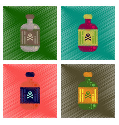 assembly flat shading style icons potion in bottle vector image