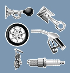 Automotive parts and accessories icons vector