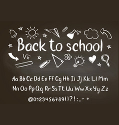 back to school chalk text on blackboard vector image