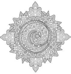 beautiful adult coloring book page with spiral vector image