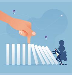 Big hand stop domino effect-business concept vector