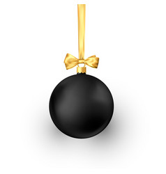 black christmas ball with golden silk ribbon vector image