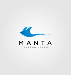 blue manta ray logo design vector image