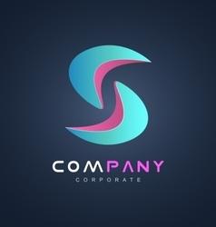 Blue pink alphabet letter S logo icon design vector