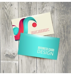 Business card on the wooden table vector image