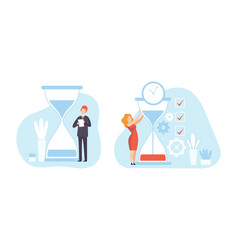 Business people planning working process with vector