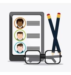 Businessman smartphone pencil glasses cv document vector