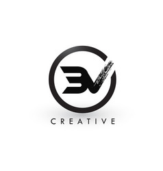 bv brush letter logo design creative brushed vector image
