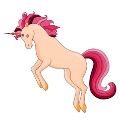 cartoon unicorn standing on white background vector image