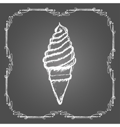Chalk soft ice cream in cone and vintage frame vector image