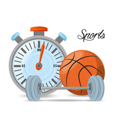 Chronometer to play basketball and weight sport vector