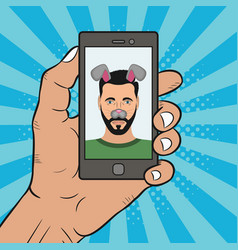comic selfie man vector image