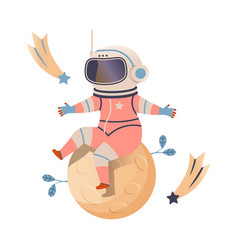 Cute boy astronaut in space suit sitting on planet vector