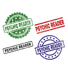 Damaged textured psychic reader seal stamps vector