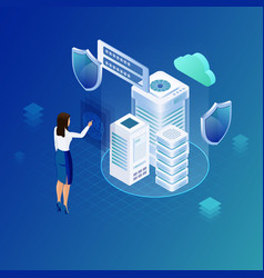 data protection hosting net or database concept vector image