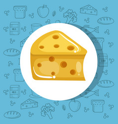 Delicious cheese icon vector