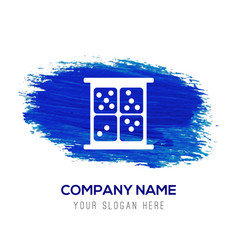 dice icon - blue watercolor background vector image