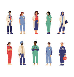 doctor nurse characters health professionals vector image
