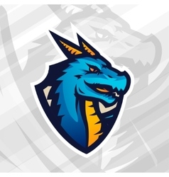 Dragon on shield sport mascot template Football vector image