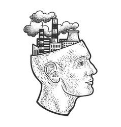 factory in head line art sketch vector image