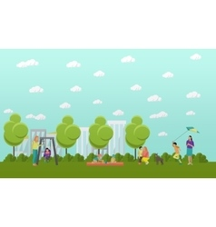 Family in park concept banner People spending vector image