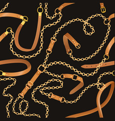 Fashion seamless pattern with chains and belts vector