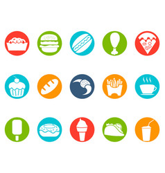 Fast foods button icons set vector