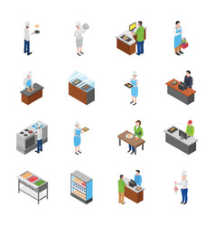 Flat icons designs food court fridges and fur vector