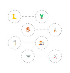 Flat icons pruner axe wheelbarrow and other vector