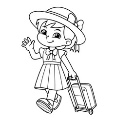 girl traveling with her travel bag bw vector image