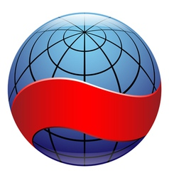 globe sign with ribbon vector image