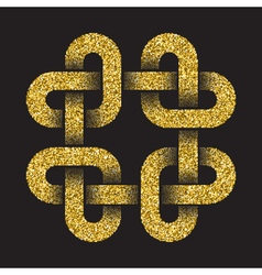 Golden glittering logo template in celtic knots vector