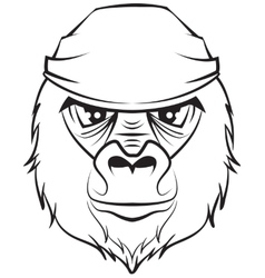 Gorilla head Black and white drawing vector