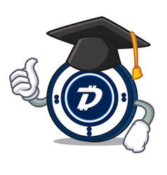 Graduation digibyte coin character cartoon vector
