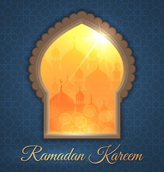 Greeting card with daytime landscape with mosques vector