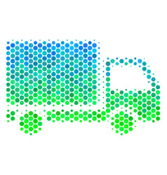 Halftone blue-green delivery lorry icon vector