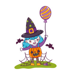 Happy girl with pumpkin costume and bats vector