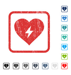 Heart power icon rubber watermark vector