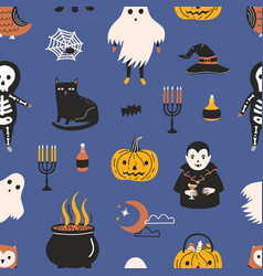holiday seamless pattern with funny scary magic vector image
