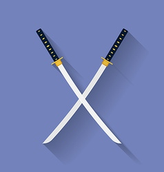 Icon of Katana swords Flat style vector image