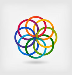 Interlaced colored rings floral symbol vector